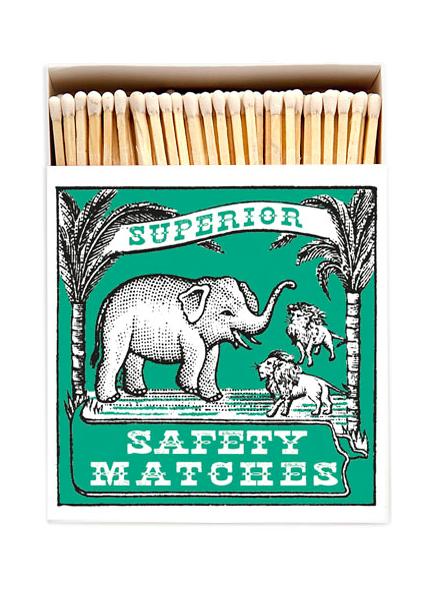 Tändsticksask elefant och tiger grön