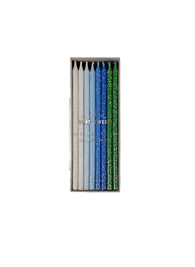 Tårtljus – Blå/Grön