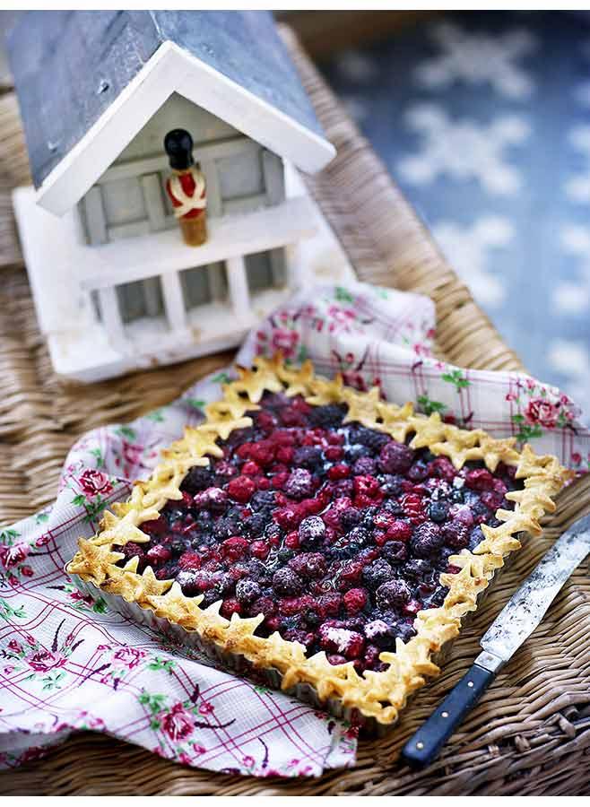 Fyrkantig pajform med blåbärspaj