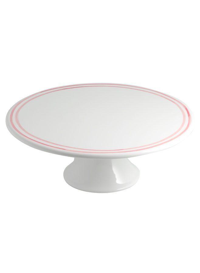 Klassiskt vitt tårtfat i keramik med rosa ränder