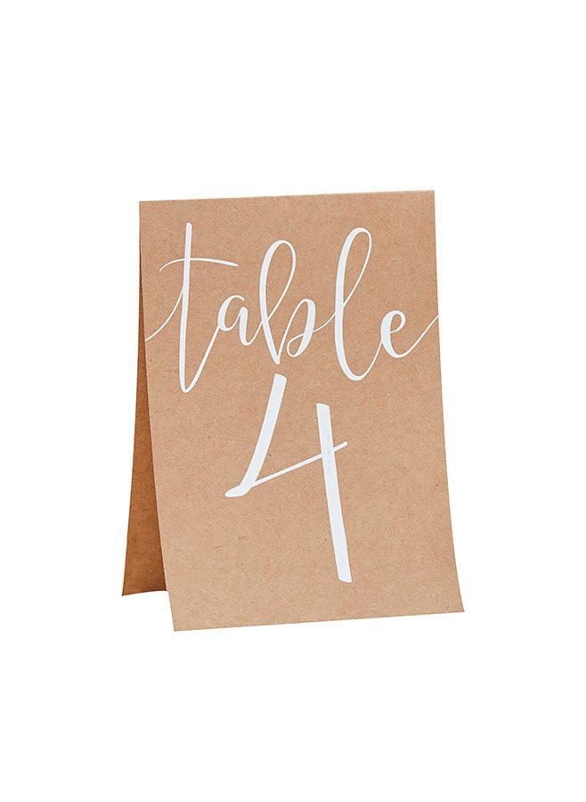 Skylt med bordsnummer