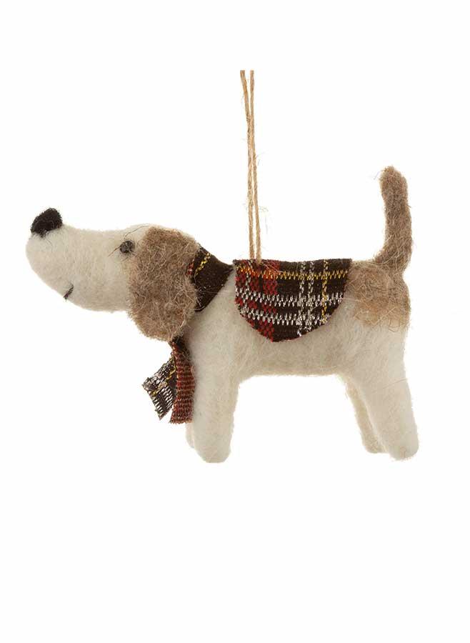 Julgransdekoration – Hund i ull med rutig skarf