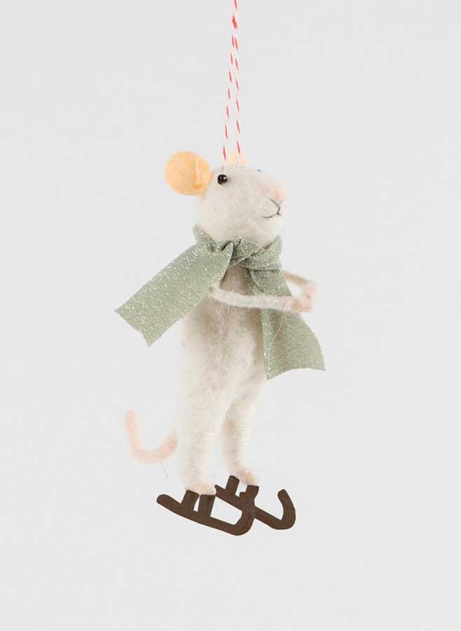 Julgransdekoration – Skridskoåkande mus i ull med halsduk