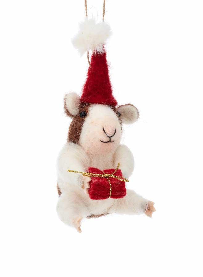 Julgransdekoration – Marsvin i ull med julklapp