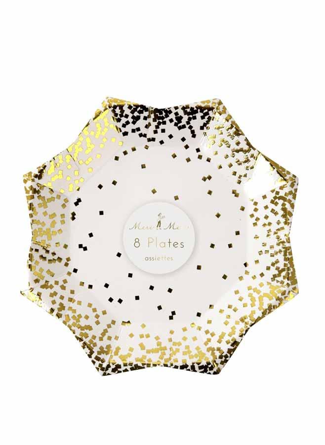 papperstallrik med guldconfetti