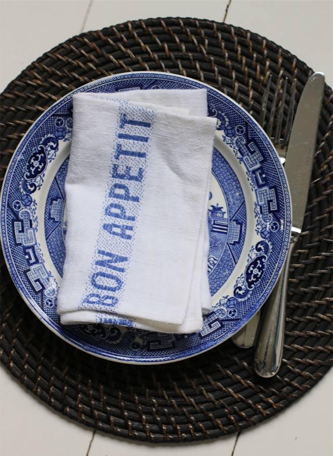 Servett blå/vit Bon appetit