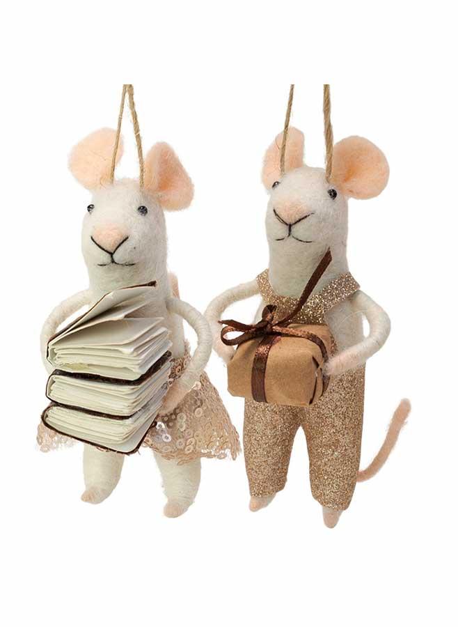 Julgransdekoration – Möss med paket och böcker