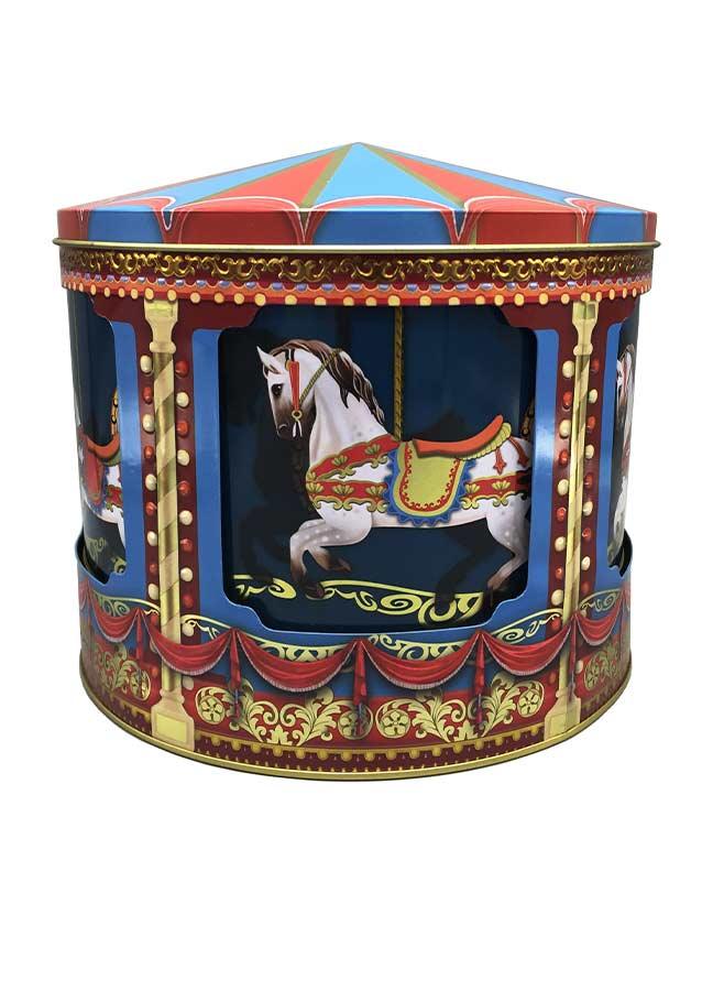 Stor Plåtburk – Kakburk Karusell Häst – Speldosa